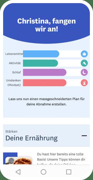 Mobile Vorschau von der individuellen Zielsetzung in der WW App