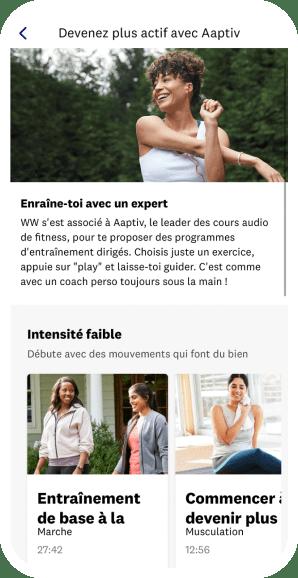 Aperçu mobile des exercices fitness dans l'app WW
