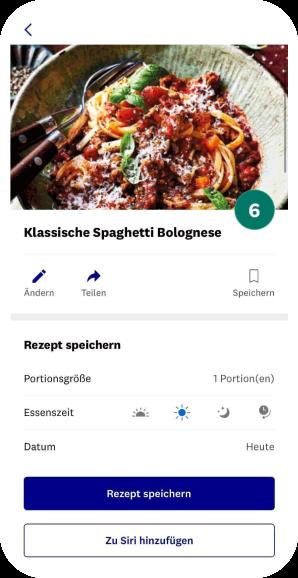Mobile Vorschau eines Rezepts in der WW App