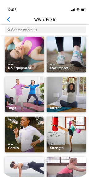 Mobile Vorschau der FitOn Video-Workouts in der WW App