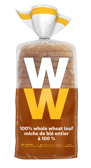 Whole wheat bread slices inside a bag.
