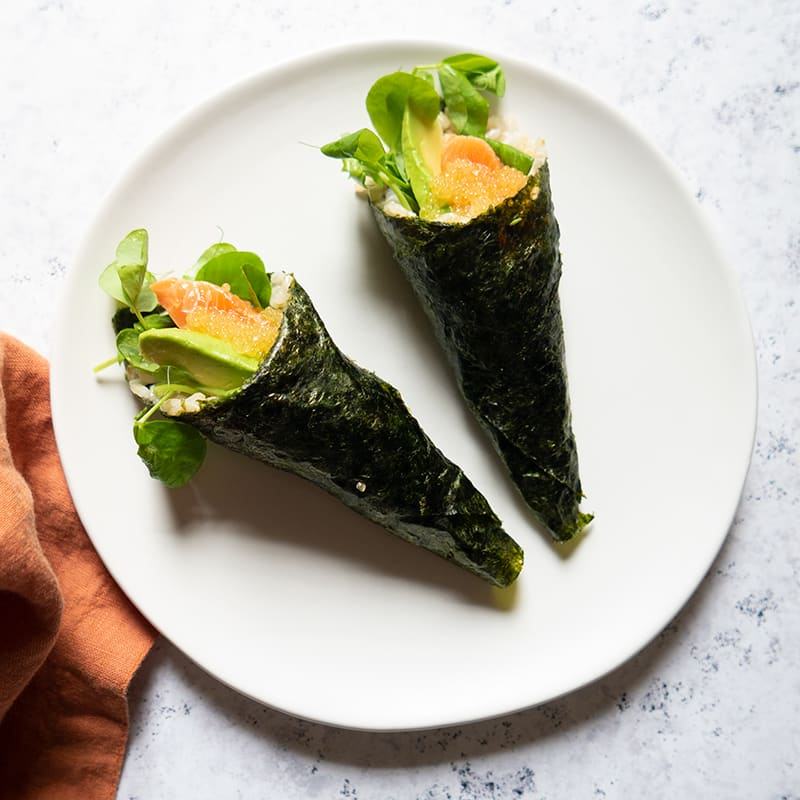 Photo of Arctic char and avocado hand rolls by WW