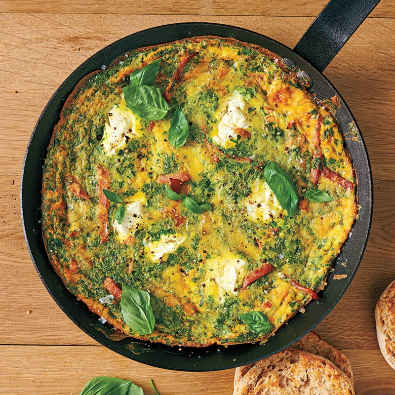 Photo of Canadian bacon, herb, and ricotta frittata by WW