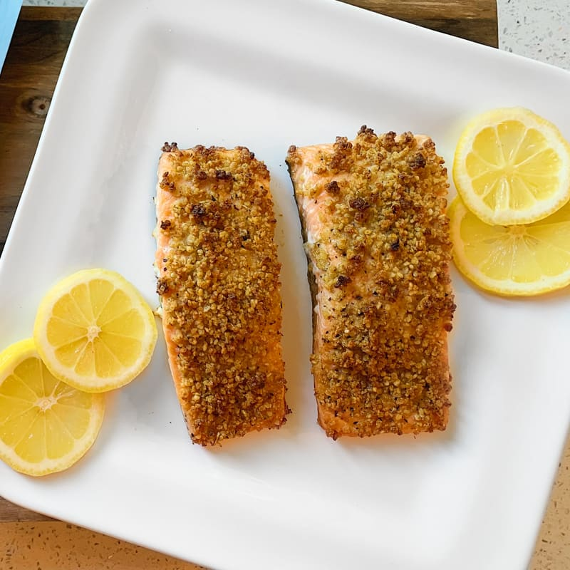 Photo of Air-fried Crounon-crusted salmon by Carrington Farms by WW