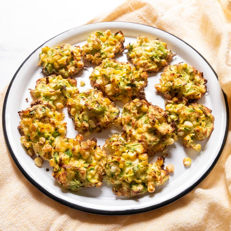 Photo of Air fryer zucchini, corn, and feta fritters by WW