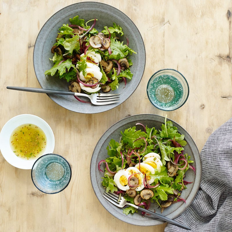 Photo of Warm kale salad with onion, mushrooms, and egg by WW