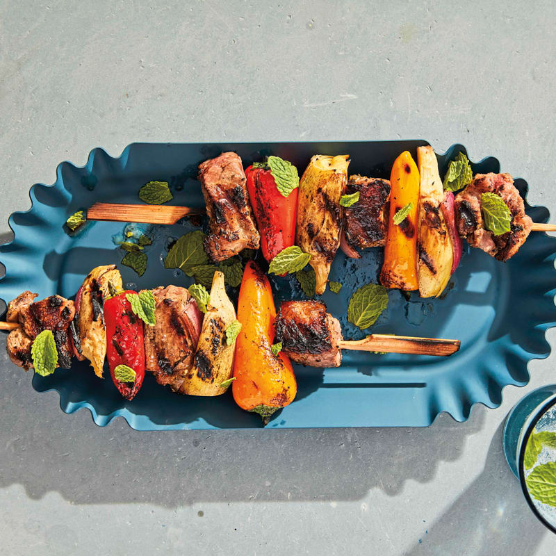 Photo of Grilled lamb, artichoke, and pepper kebabs by WW