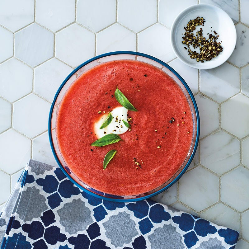 Photo of Tomato-watermelon gazpacho with basil & jalapeño by WW
