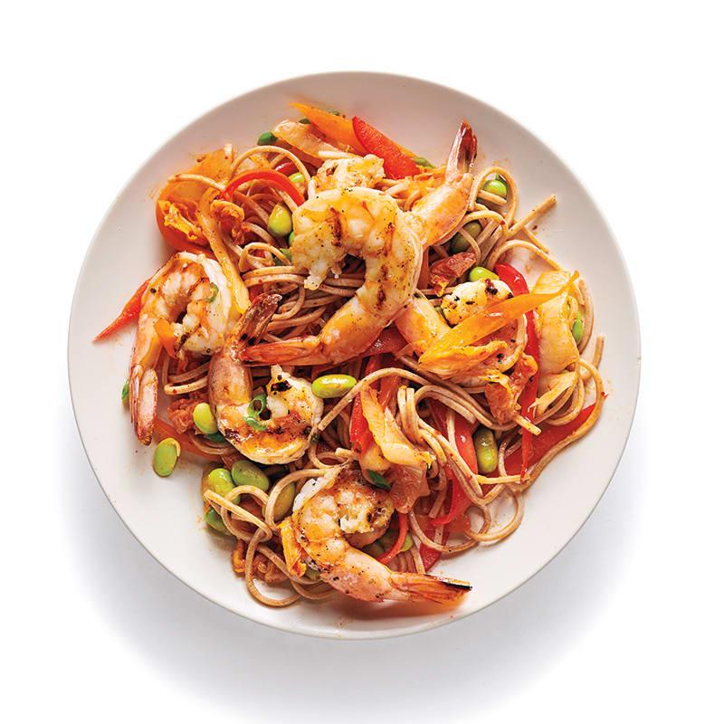 Photo of Kimchi soba with shrimp and edamame by WW