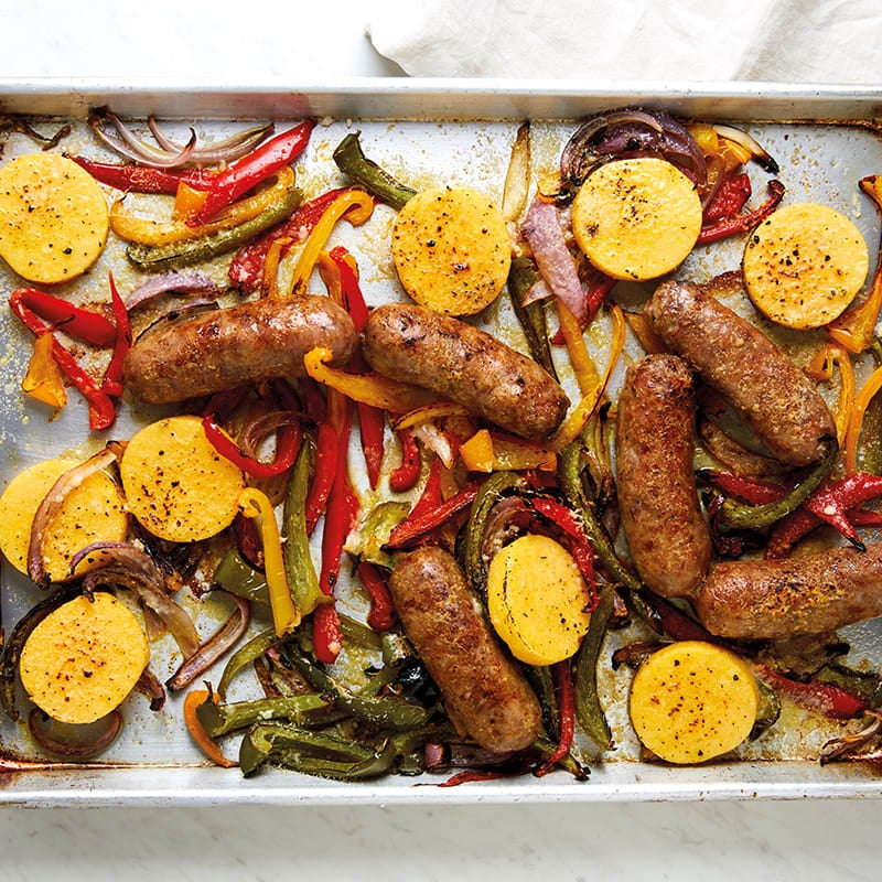 Photo of Cheat sheet sausage, peppers, and onions with polenta by Katie Lee Biegel by WW