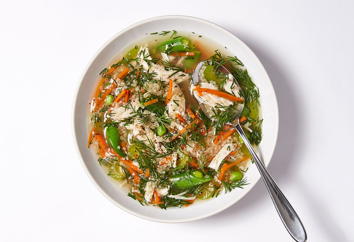 Photo of Spring chicken soup with veggies & quinoa by WW