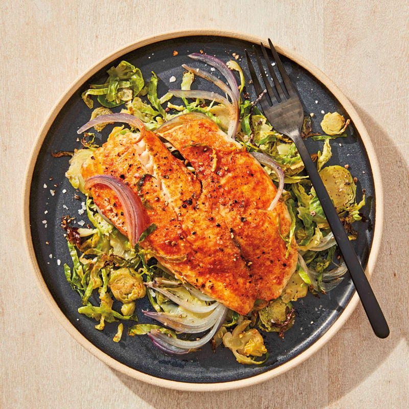 Photo of Grilled tilapia and Brussels sprout packets by WW