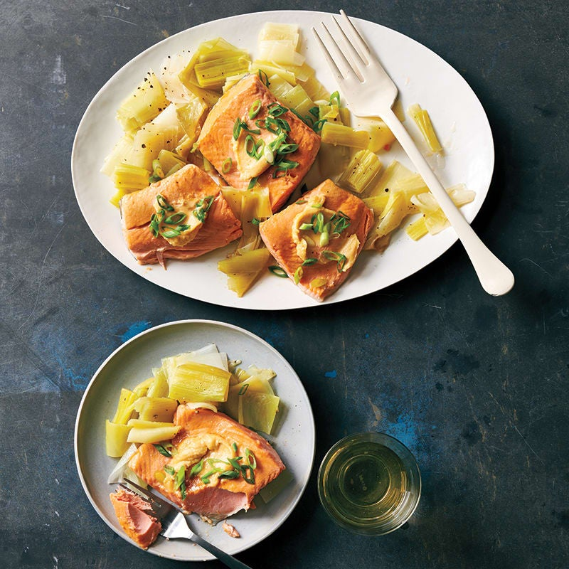Photo of Salmon with melted leeks and miso butter by WW