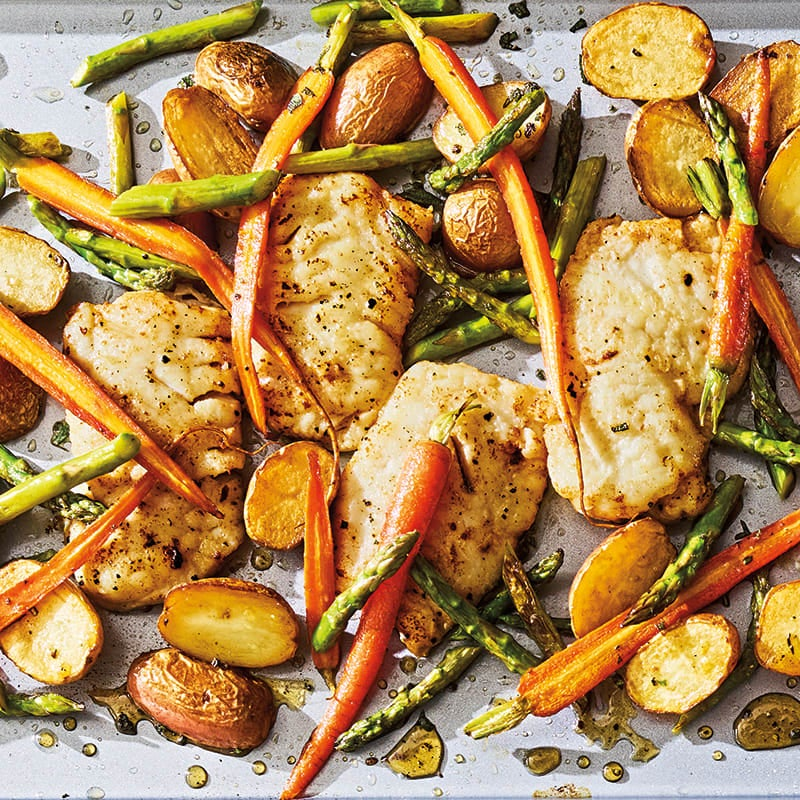 Photo of Cod with asparagus, baby carrots & new potatoes by WW