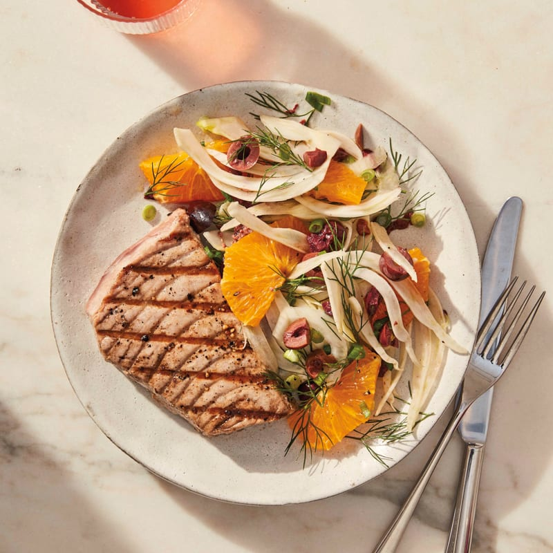 Photo of Grilled tuna with fennel, orange, and olive salad by WW