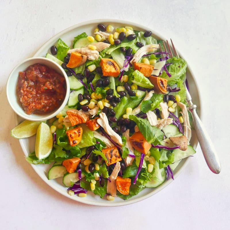 Photo of Southwest chicken salad with roasted sweet potato, corn, and beans by WW