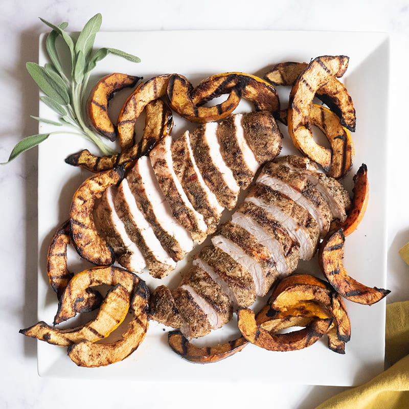 Photo of Grilled turkey tenderloin and acorn squash by WW