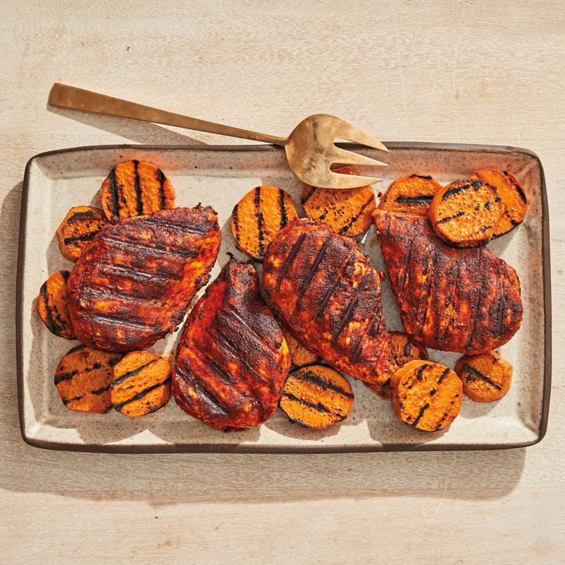 Photo of BBQ chicken and grilled sweet potatoes by WW