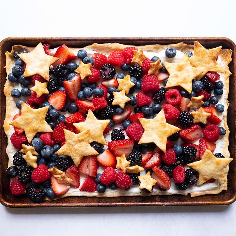 Photo of Red, white, and blue yogurt-berry tart by WW