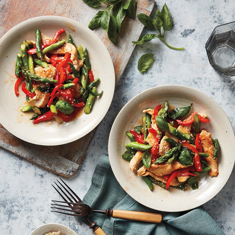 Photo of Chicken and asparagus stir-fry with basil by WW