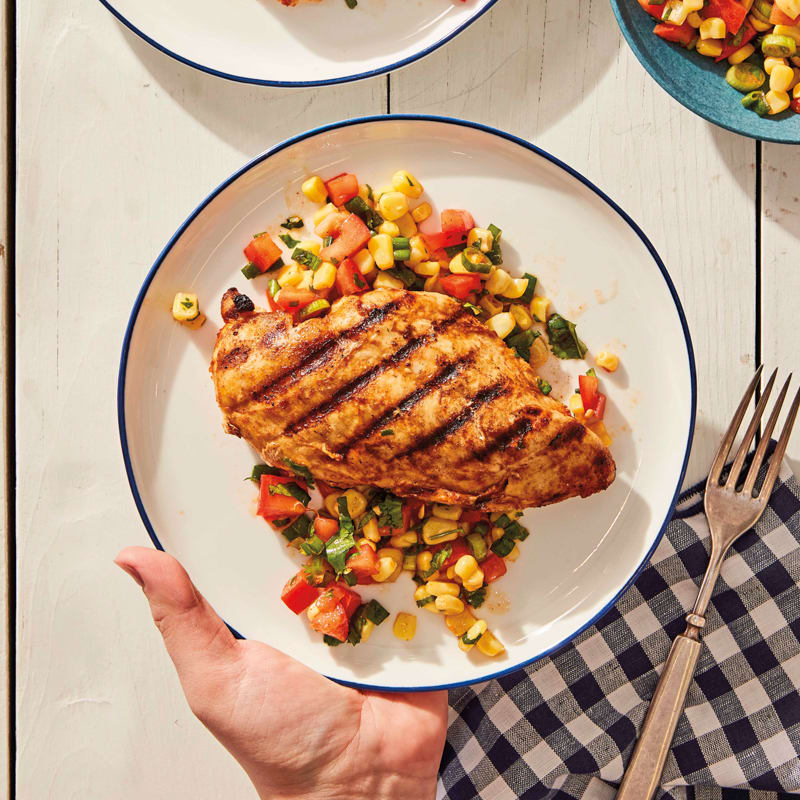 Photo of Grilled chicken with summer corn and tomato salad by WW