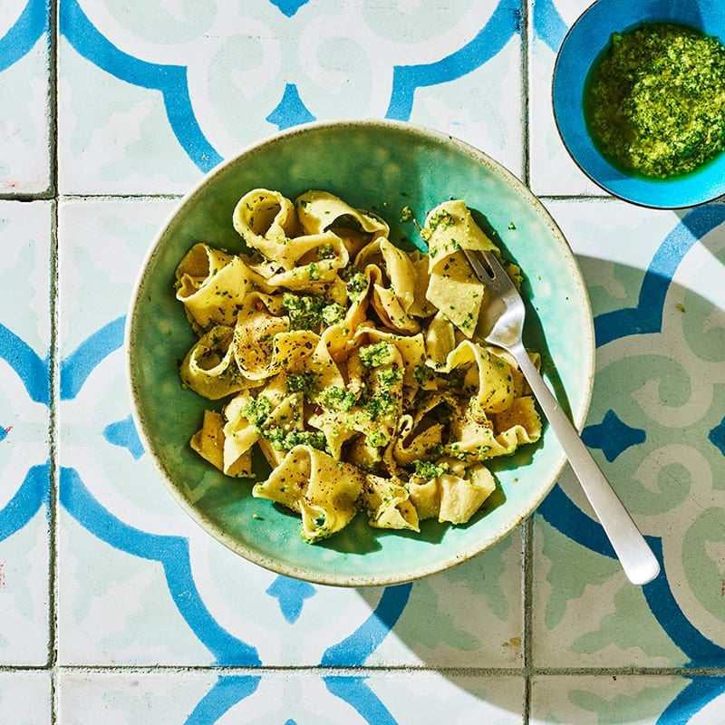 Photo of Homemade whole-wheat pasta with pesto by WW