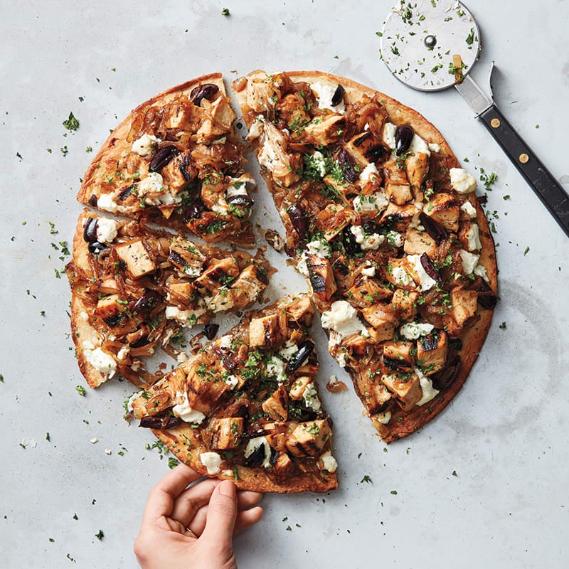 Photo of Chicken, caramelized onion, and goat cheese pizza by WW
