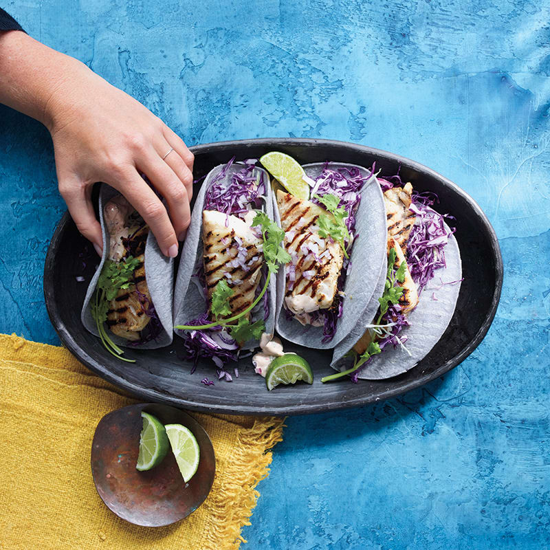 Photo of Fish tacos with creamy cilantro sauce by WW