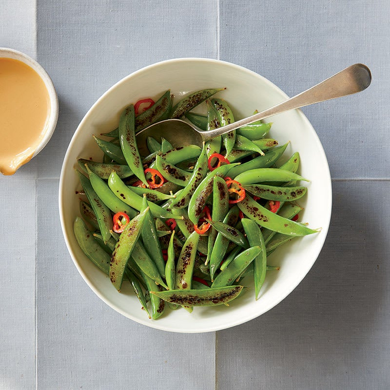 Photo of Blistered sugar snap peas with peanut sauce by WW