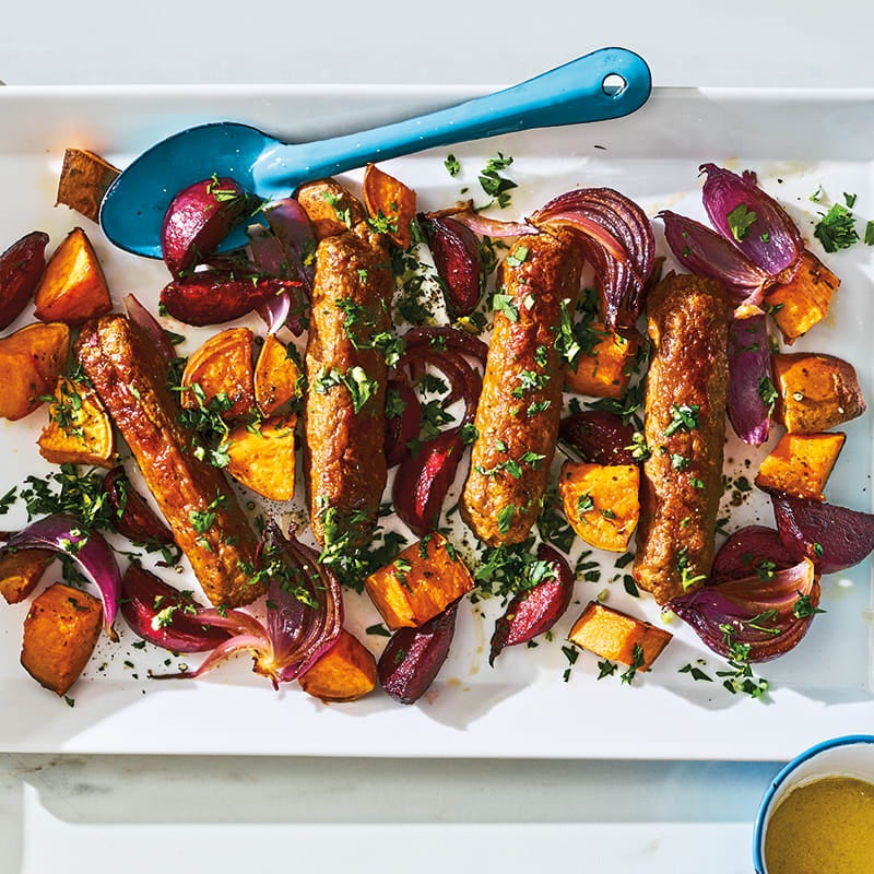 Photo of Roasted root vegetables & meatless sausage with gremolata by WW