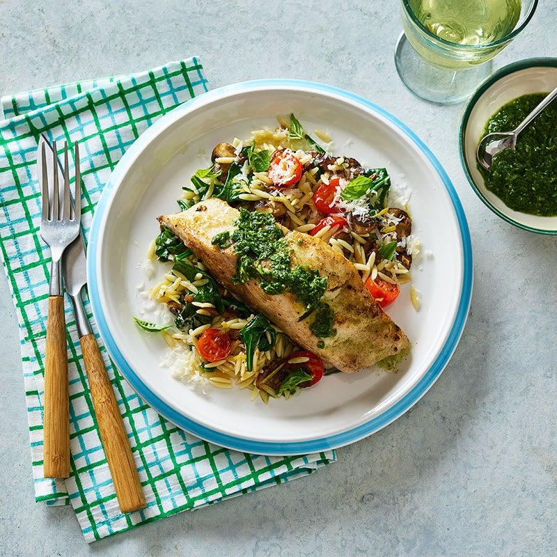 Photo of Pan-seared mahi mahi with spinach and mushroom orzo by WW
