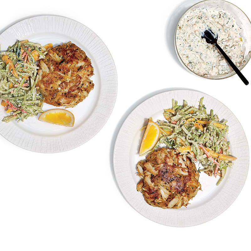 Photo of Lump crab cakes with mango-broccoli slaw and spicy tartar sauce by WW