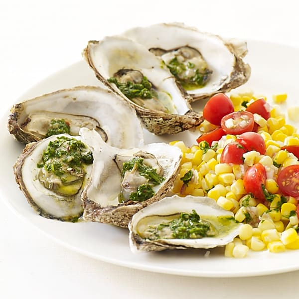 Photo of Roasted oysters with chimichurri and tomato-corn salad by WW