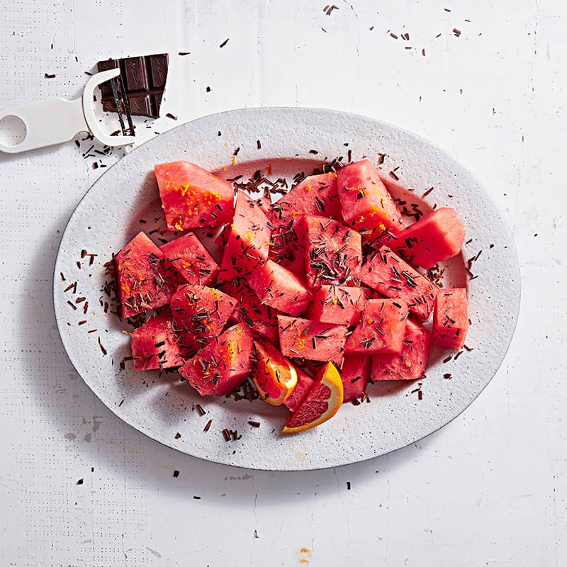 Photo of Watermelon with bittersweet chocolate shavings by WW