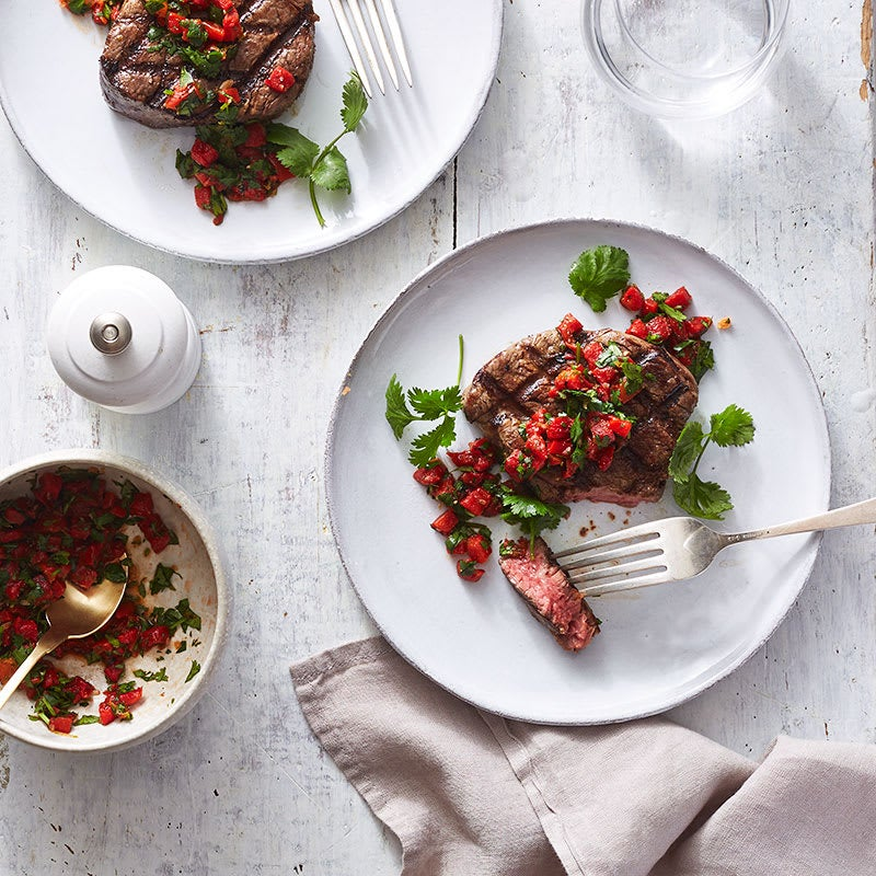 Photo of Filet mignon with roasted red pepper, cilantro and lime by WW