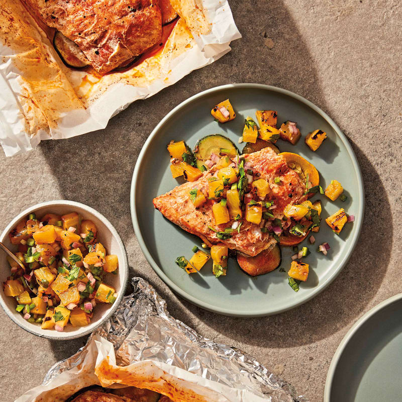Photo of Grilled snapper packets with charred-pineapple salsa by WW