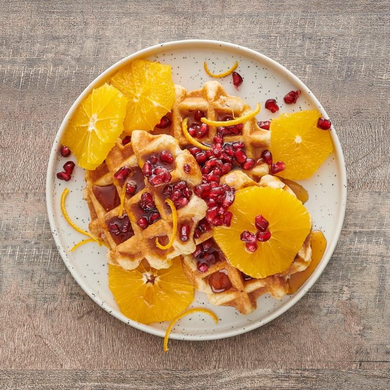 Photo of Orange-pomegranate buttermilk waffles by WW