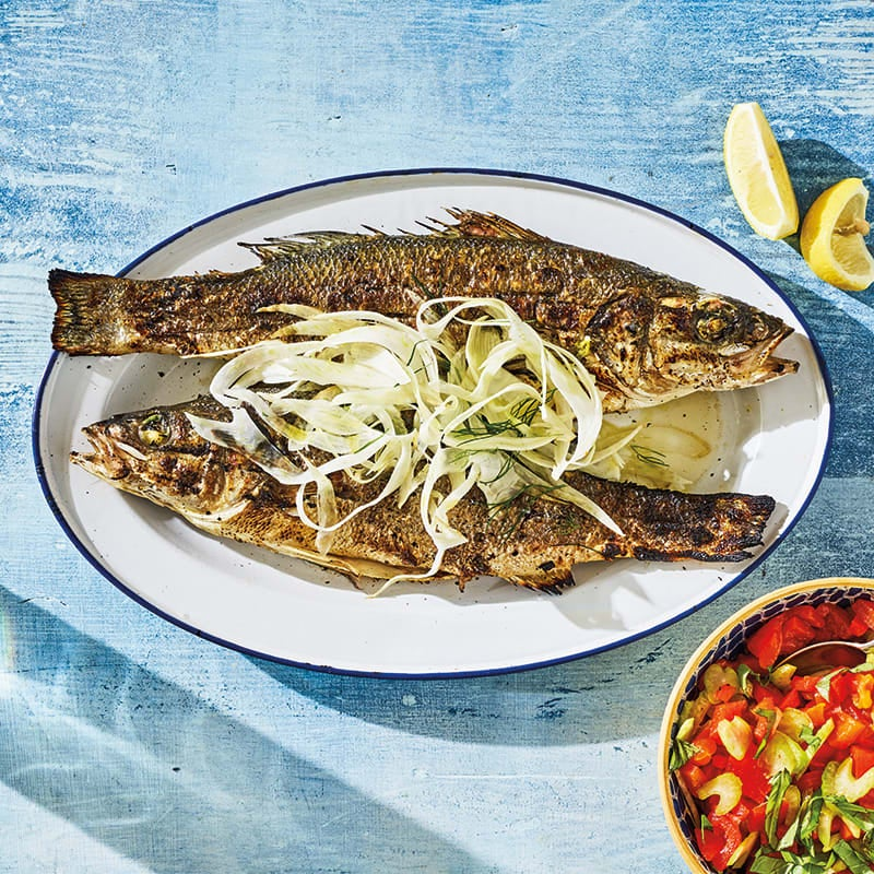 Photo of Grilled branzino with roasted pepper relish & fennel by WW
