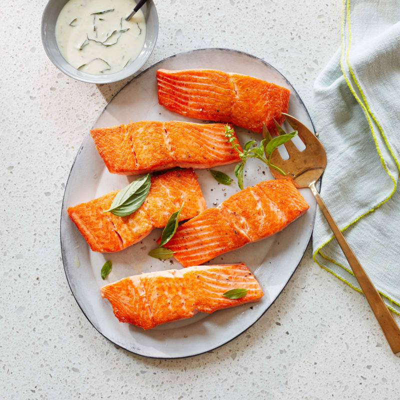 Photo of Pan-Seared Salmon with Basil-Dijon Cream Sauce by WW