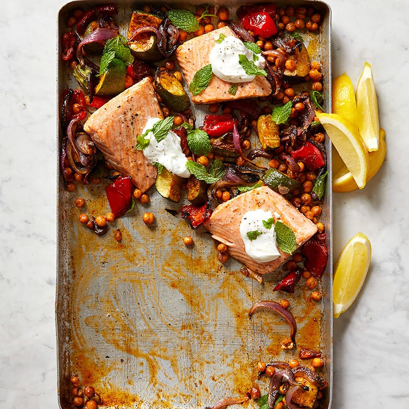 Photo of Roasted salmon with chickpeas, zucchini, and red pepper by WW