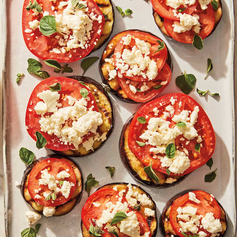 Photo of Grilled eggplant, tomato, and feta stacks by WW