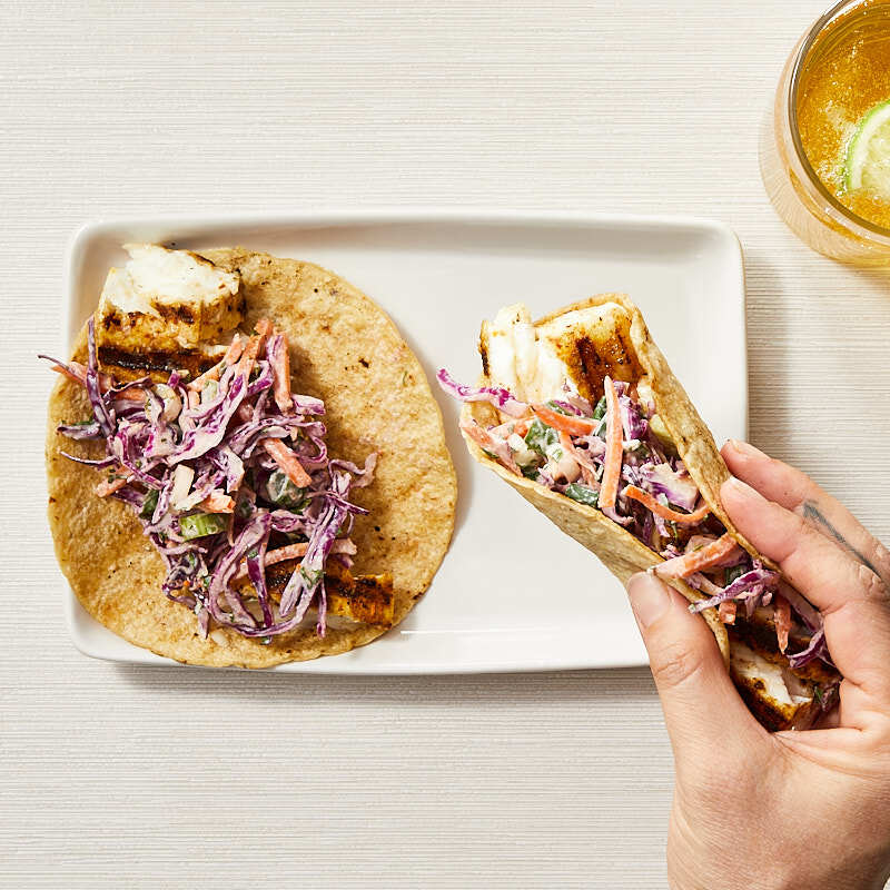 Photo of Fresh fish tacos with red cabbage slaw by WW