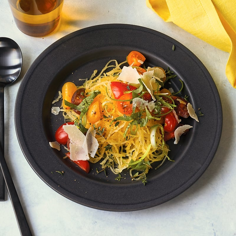 Photo of Cherry tomato and basil-topped spaghetti squash by WW