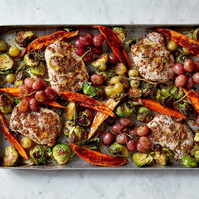 Photo of Rosemary Pork with Brussels Sprouts, Sweet Potatoes, and Grapes by WW