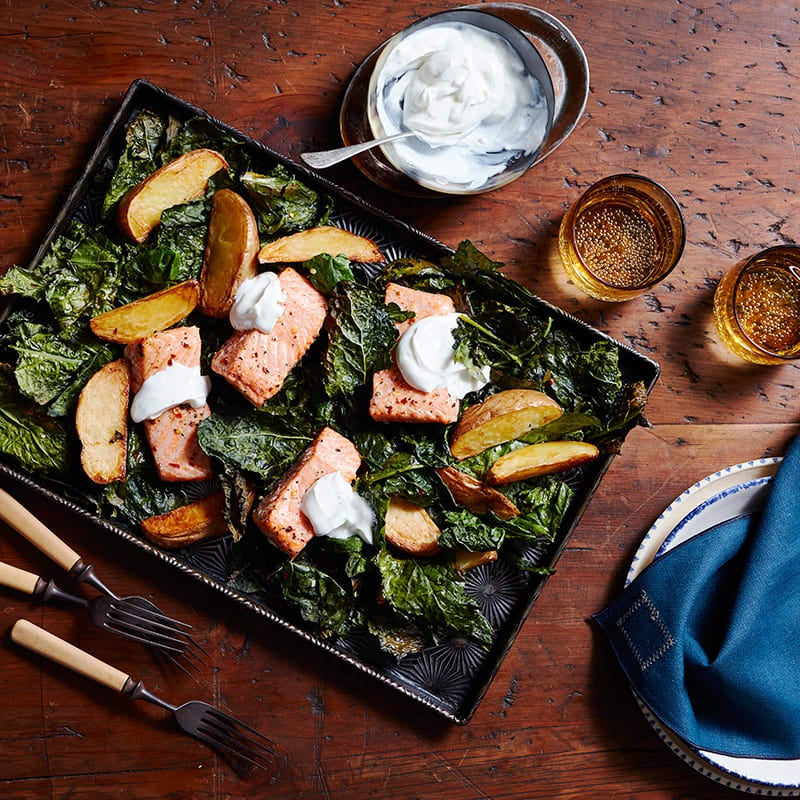 Photo of Sheet pan salmon with crispy kale and potatoes by WW