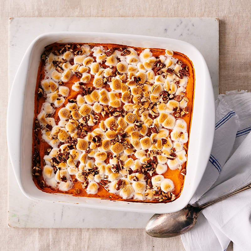 Photo of Sweet potato casserole with mini-marshmallows and pecans by WW