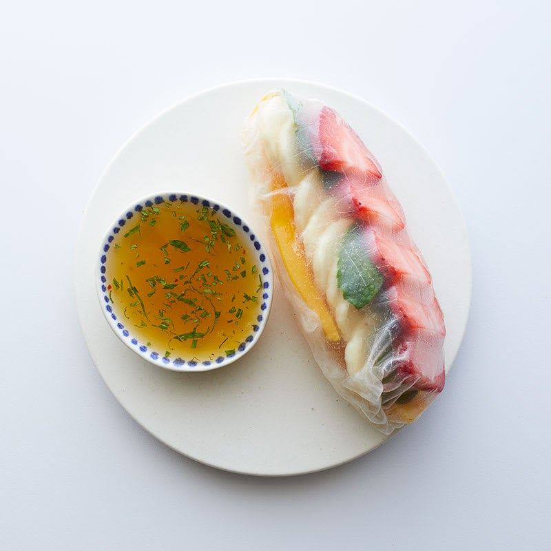 Photo of Fresh fruit summer rolls with honey-lime dipping sauce by WW