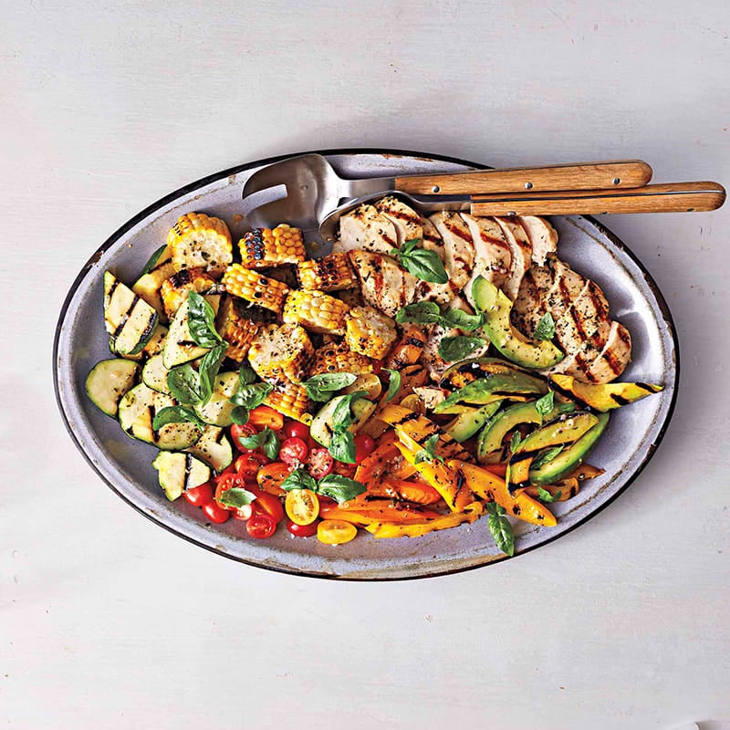 Photo of Grilled corn, chicken, & summer vegetable salad by WW