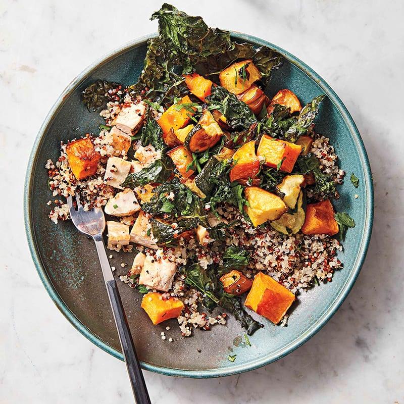 Photo of Grain bowl with roasted veggies, chicken, & turmeric-yogurt by WW