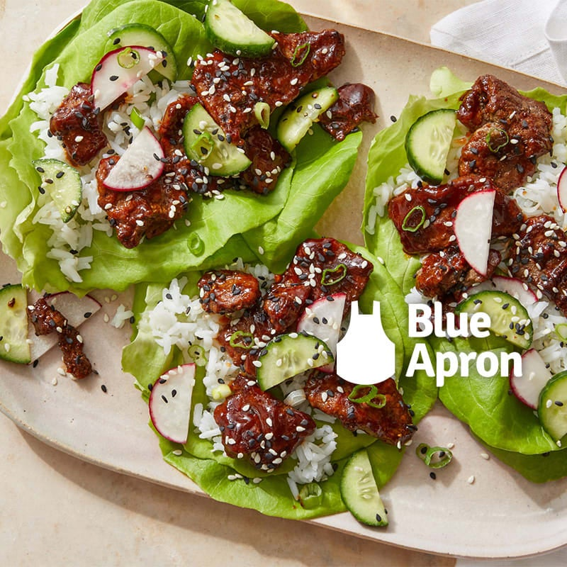 Photo of Korean BBQ Chicken Lettuce Cups with Sesame Cucumber Salad & Jasmine Rice by WW